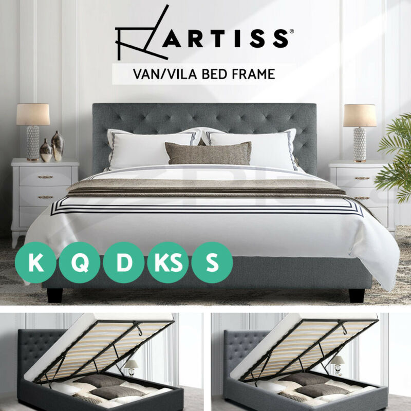AU194 • Buy Artiss Bed Frame Gas Lift Single Double Queen King Size Mattress Base Fabric