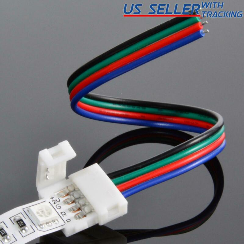 10-pack 10mm Solderless 4-Wire Connector Clip For 5050 RGB LED Strip Light Power • 4.95$