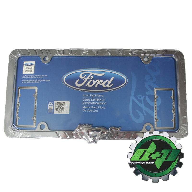 Ford Mustang Chrome Plated License Plate Frame Tag Holder Gt Cobra Shelby Selean • 22.24$