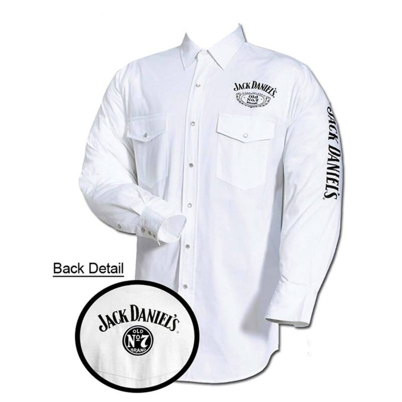 $49.98 • Buy Jack Daniel's Embroidered Long Sleeve Mens Button Down Western Shirt White