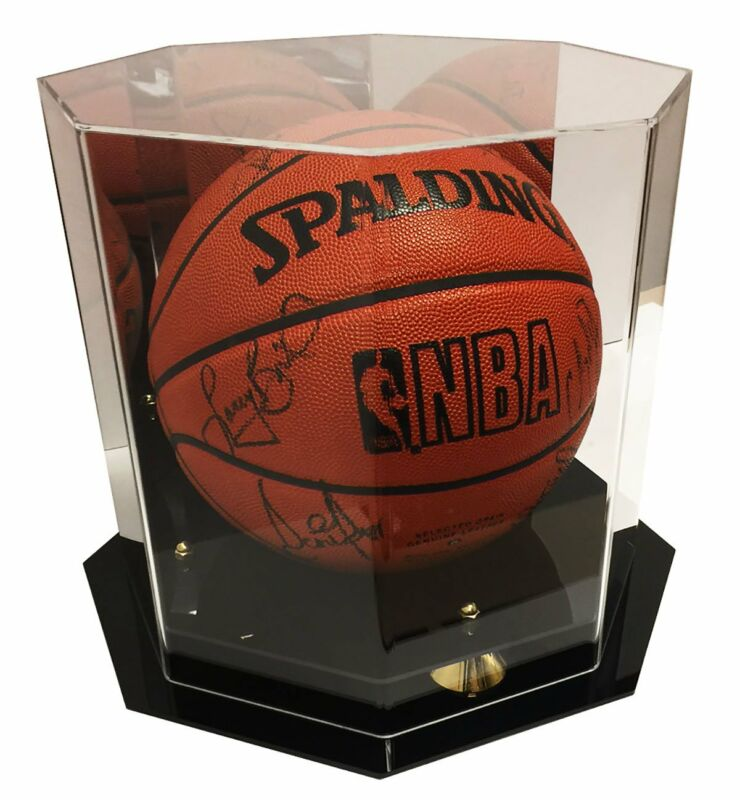 Deluxe Octagon UV Protected Full Size Basketball Display Case W/ Mirror Back • 57.95$