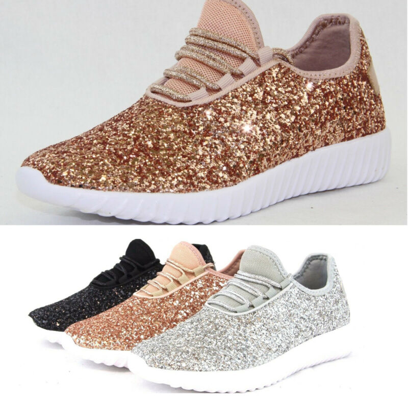 Womens Sequin Glitter Sneakers Trainers Flat Tennis Lace Up Athletic Shoes Size • 15.19$