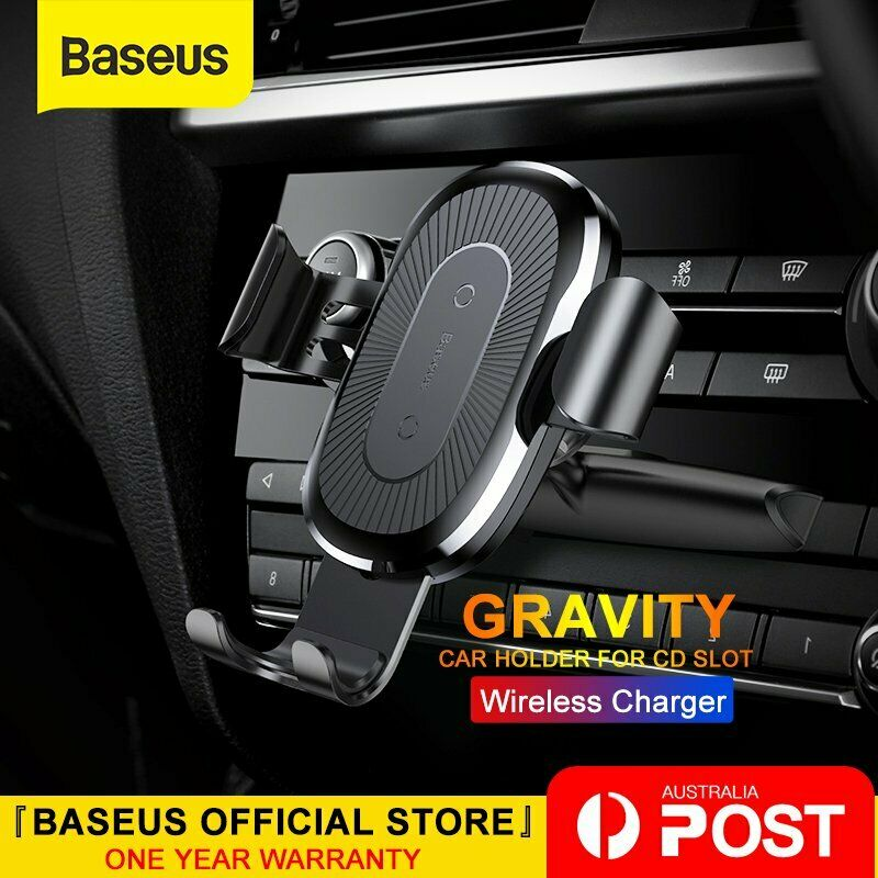 AU25.99 • Buy Baseus Qi Wireless Charger Car Phone Holder Mount CD Slot For IPhone Samsung