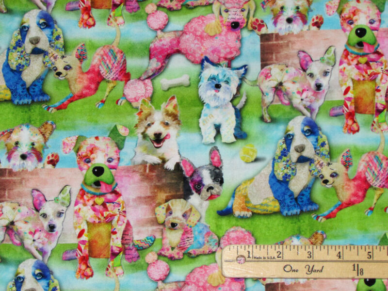 Good Dogs Too Packed Digital Print 3 Wishes Fabric By The 1/2 Yard #14848-GREEN • 6.89$