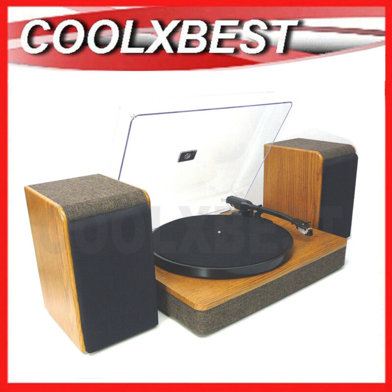 AU106.98 • Buy WOOD TURNTABLE VINYL RECORD PLAYER With SPEAKERS 20W RMS 3 SPD & BLUETOOTH (RFB)