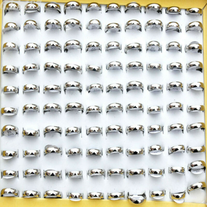 $ CDN1.30 • Buy 30pcs Fashion Wholesale Jewelry Lots Unisex Stainless Steel Simple Bands Rings