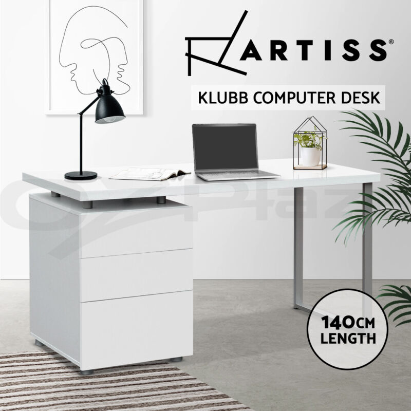 AU159 • Buy Artiss Office Computer Desk Study Table Home Metal Student Drawer Cabinet White