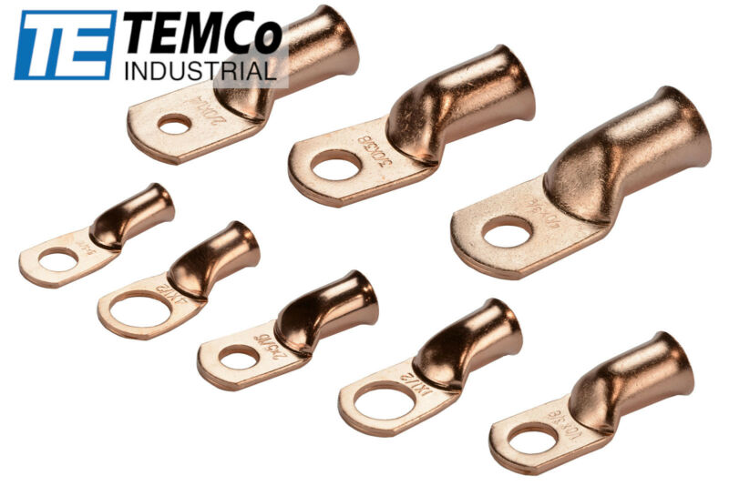 TEMCo Bare Copper Lug Ring Terminals Battery Wire Welding Cable AWG • 12$