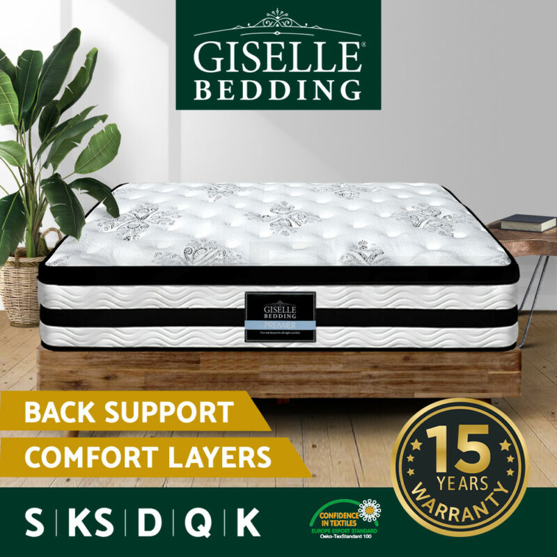 AU259 • Buy Giselle Queen Mattress Double King Single Bed Euro Top Pocket Spring Firm Foam