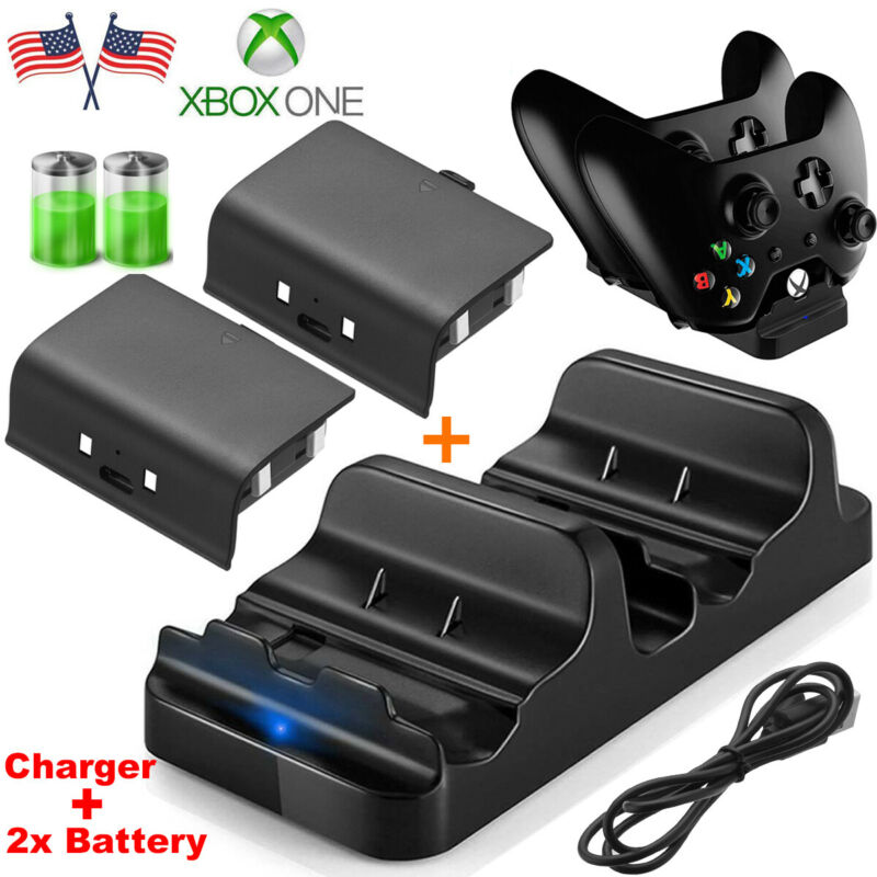 XBOX ONE Dual Charging Dock Station Controller Charger + 2x Rechargeable Battery • 11.45$