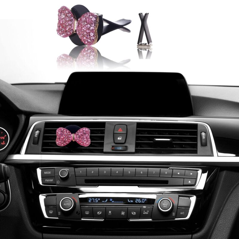 $5.99 • Buy Bling Car Accessories Interior Decoration For Girls Women - Pink Crystal Bow