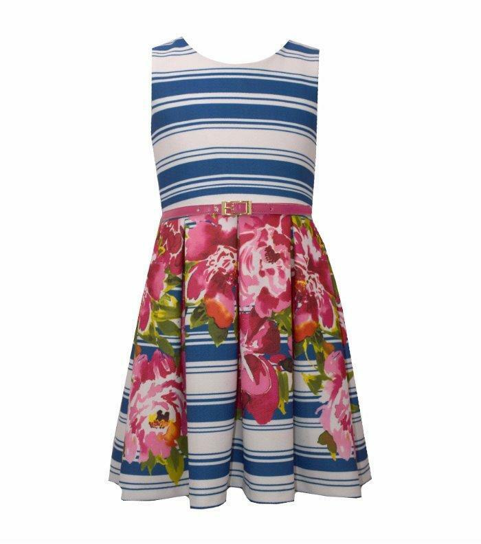 $29.99 • Buy BONNIE JEAN® Little Girl's 5 Striped Floral Print Belted Dress NWT $62