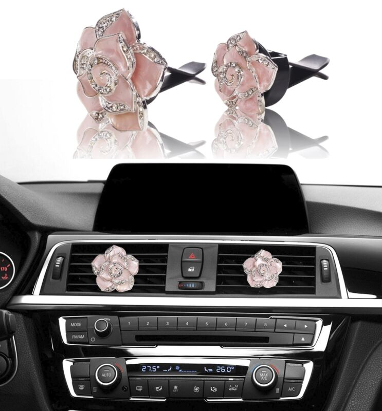 $6.75 • Buy Bling Pink Car Accessories Interior Decoration For Girls Women Crystal Flowers