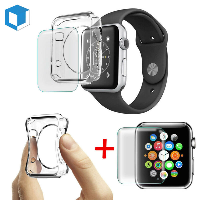 $ CDN2.12 • Buy Apple Watch Series 4/ 3/ 2 Tempered Glass Screen Protector+Soft TPU Case 38/42mm
