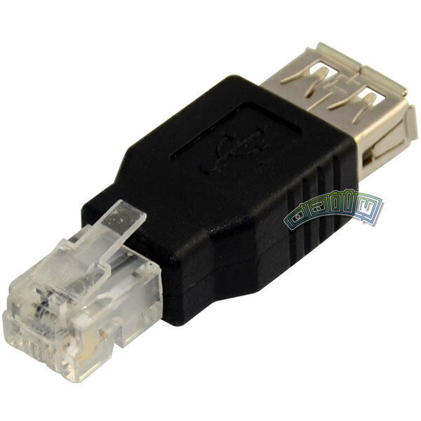 USB A Female To RJ11 4Pin Ethernet Network Converter Adapter Phone Cable Coupler • 1.09$