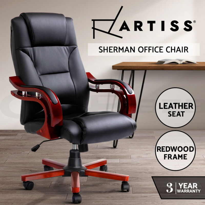 AU142 • Buy Artiss Executive Wooden Office Chair Wood Computer Chairs Leather Seat Sherman