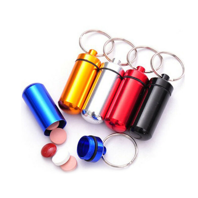$0.75 • Buy Waterproof Mini  Metal Medicine Pill Box Case Bottle Holder Container Keychain