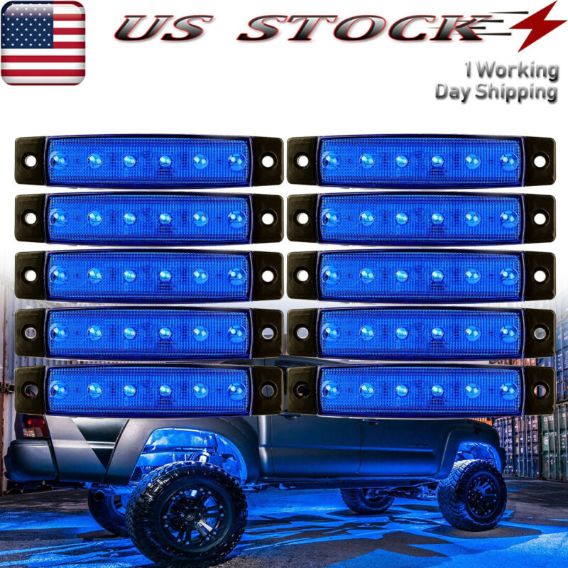 12X 6-SMD RV Travel Trailer Porch Lights Blue Car LED Step Stair Exterior Light • 19.35$