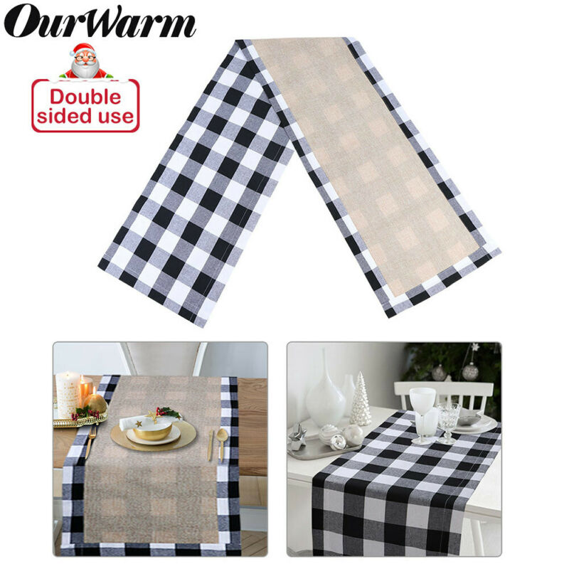 $8.98 • Buy Christmas Table Runner Plaid Cotton Dinner Table Indoor Outdoor Home Table Decor