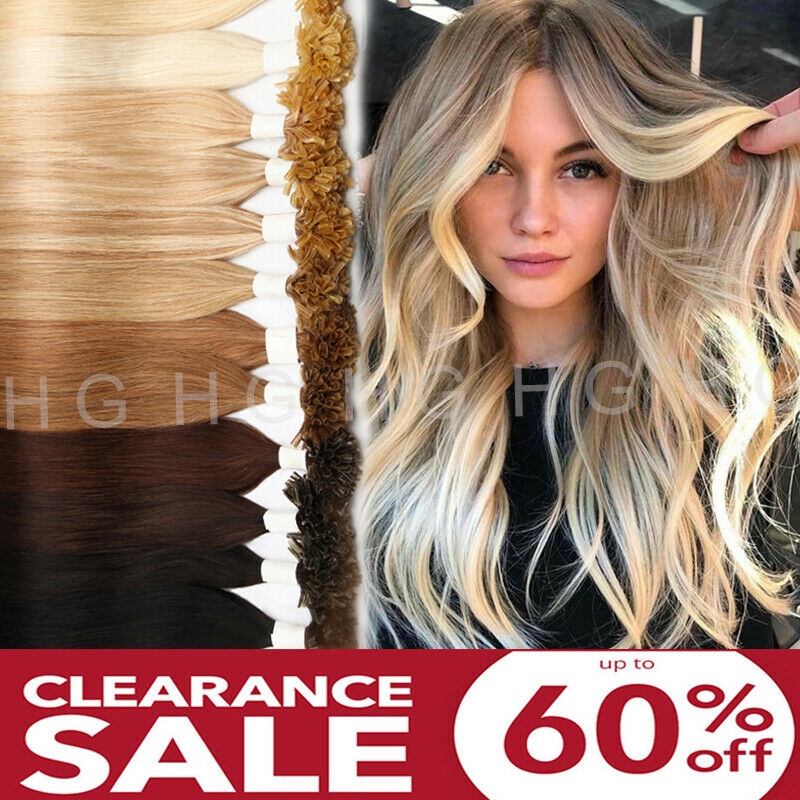 $29.60 • Buy CLEARANCE Keratin Fusion Nail U Tip Human Hair Extensions Real Remy 100s/200s US