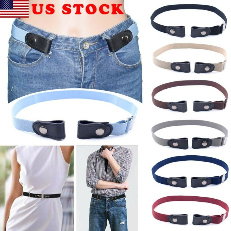 $5.69 • Buy Buckle-free Elastic Invisible Belt For Jeans No Bulge No Hassle Genuine Leather