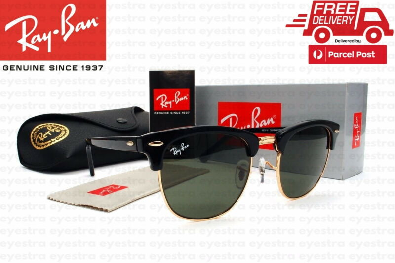 AU109.99 • Buy Authentic Ray Ban Sunglasses RB3016 W0365 51mm Clubmaster Black Frame Green Lens