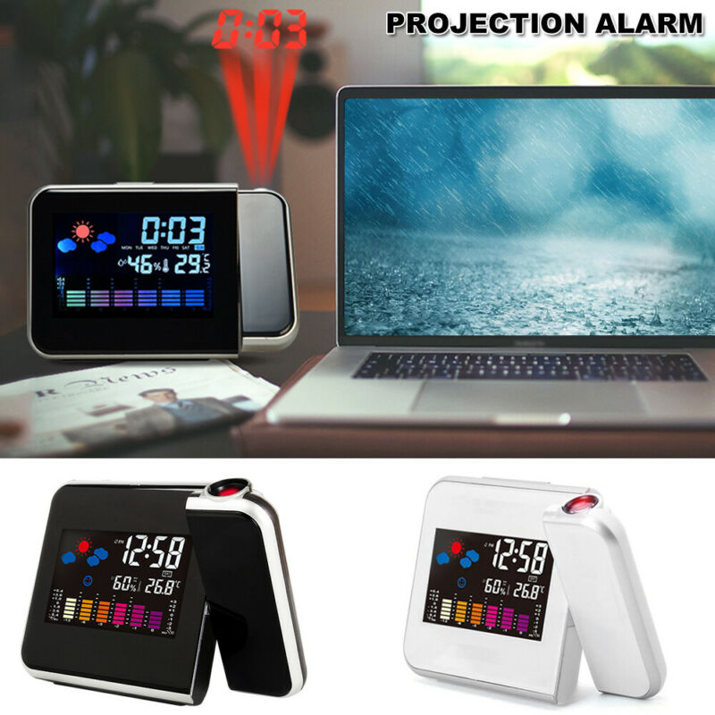 AU15.19 • Buy Digital LED Alarm Clock Time Projection Temperature Projector LCD Display Modern