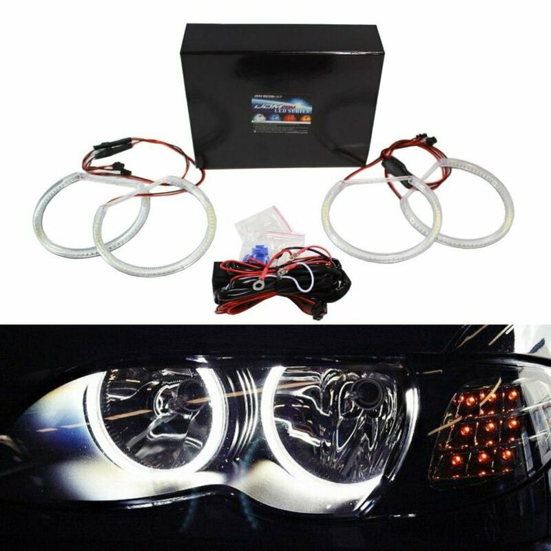 $49.99 • Buy Halogen Headlight White LED Angel Eyes Halo Rings For BMW E46 3 Series W/Non-HID