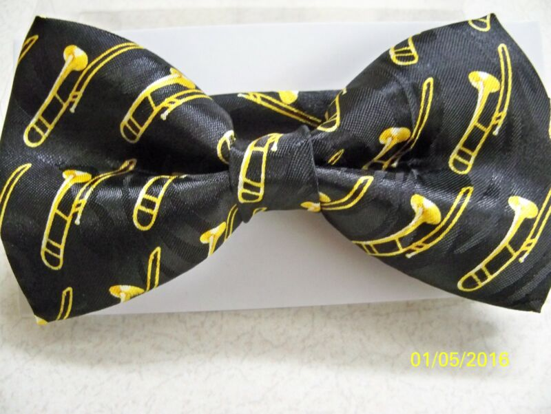 Trombone, Slide, Musical Instrument, Concert, Jazz, Band, Pre-tied Men's Bow Tie • 12.98$