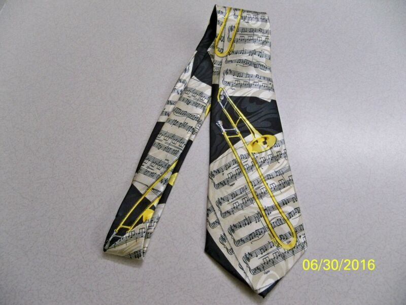 Trombone, Slide, Musical Instrument, Concert, Jazz, Band Theme Men's Neck Tie • 10.98$