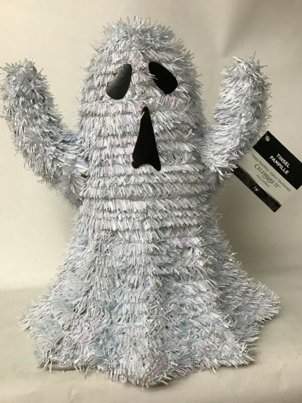 $10.99 • Buy HALLOWEEN Tinsel Ghost 11 Inches Wire Frame Table Decoration NEW