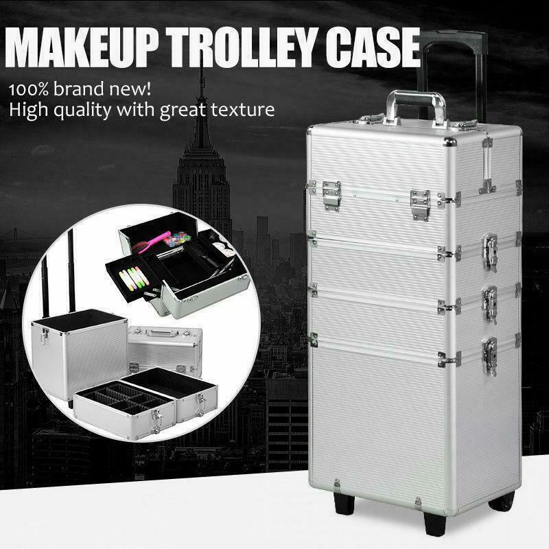 $69.89 • Buy 4 In1 Professional Aluminum Rolling Makeup Train Case Wheel Cosmetic Box Drawer