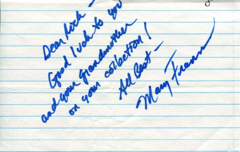 $ CDN19.58 • Buy Mary Frann Actress In Newhart & Days Of Our Lives Signed Page Autograph