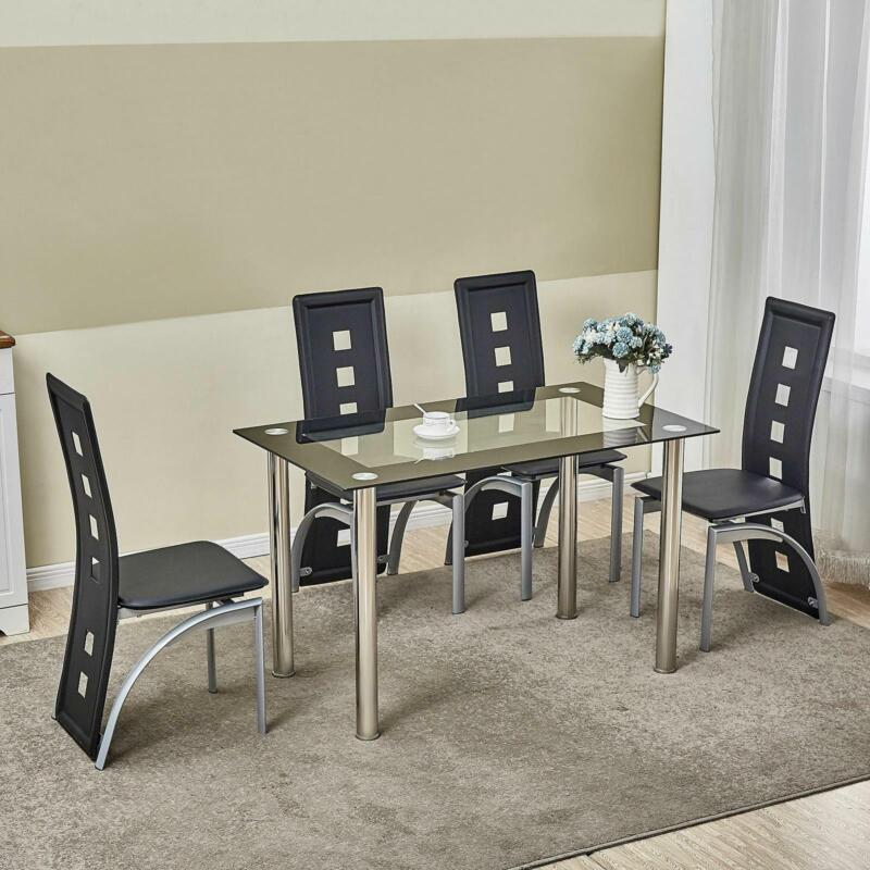5 Piece Dining Table Set Black Glass 4 Chairs Seats Kitchen Dinette Home Decor • 159$