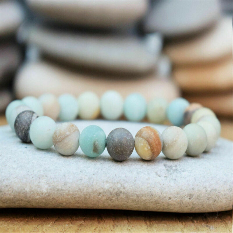 $1.42 • Buy New Boho Amazonite Beaded Bracelet Men Women Yoga Mala Beads Meditation Jewelry