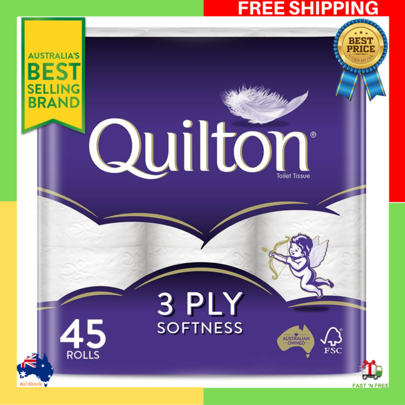 AU27.99 • Buy Toilet Paper 45 Rolls Deluxe Quilton 3 Ply White Soft PRO Large Roll Tissue Bulk
