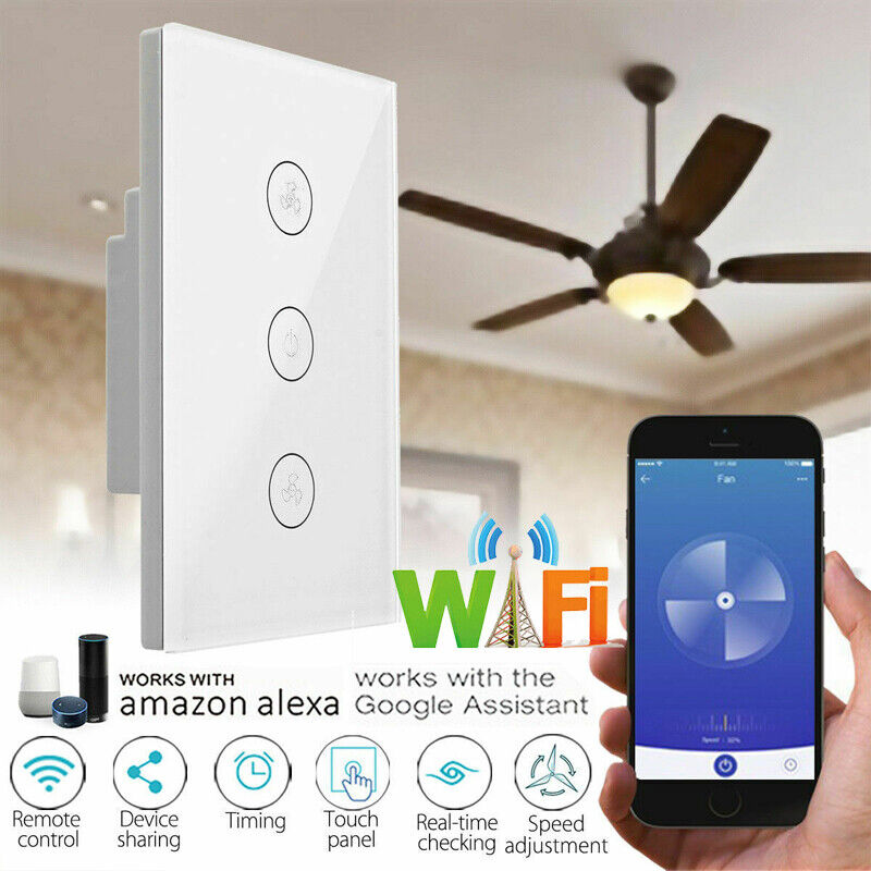 AU31.68 • Buy Wifi Smart Ceiling Fan Controller Wall Switch Touch Panel For Alexa/Google Home