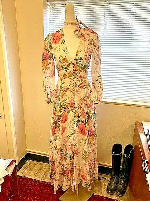 $229 • Buy Stunning Auth Zimmerman Heathers Plunge Long Dress Garden Floral 1 6 NWT $695
