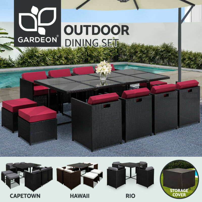 AU589 • Buy Gardeon Outdoor Furniture Dining Set Table And Chairs Patio Wicker Garden Rattan
