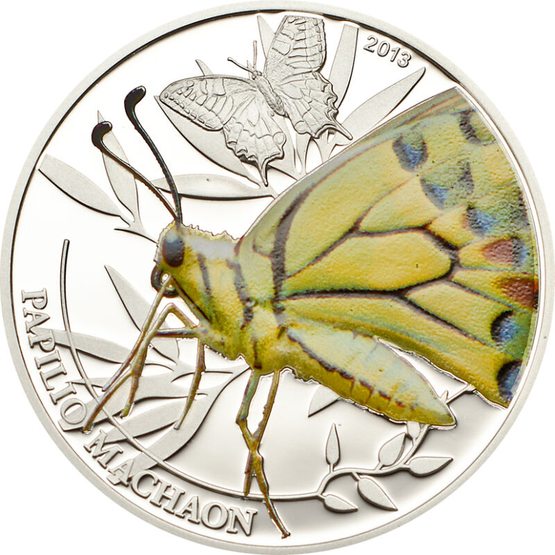 Butterfly Silver Proof Coin 2$ Palau 2013 With COA+ Box • 69.97$