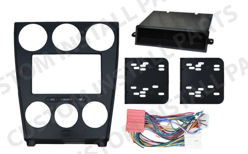 black double din dash kit mount radio stereo wiring harness install fits mazda  6 • 164 99
