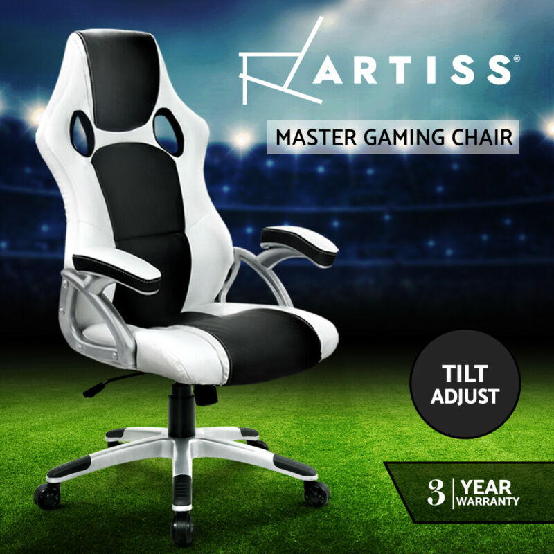 AU119 • Buy Artiss Gaming Office Chair Computer Chairs Leather Seat Racer Racing Black White