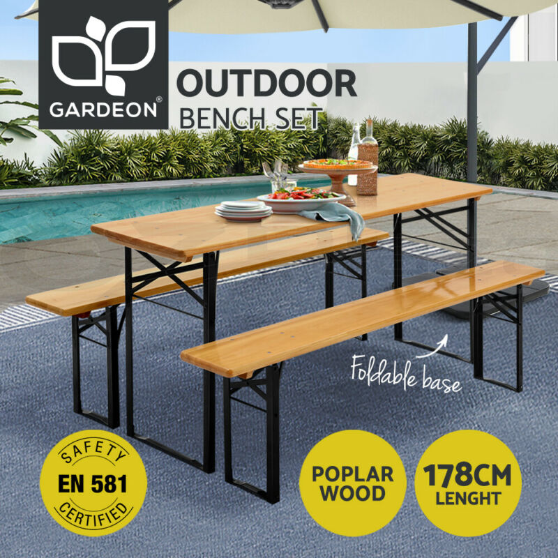 AU189.90 • Buy Artiss Outdoor Furniture Setting Table And Chairs 3 PCS Patio Bench Garden Camp