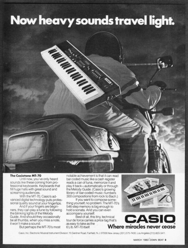 $5.45 • Buy 1983 Casio Casiotone MT-70 Keyboard Photo Heavy Sounds Travel Light Print Ad