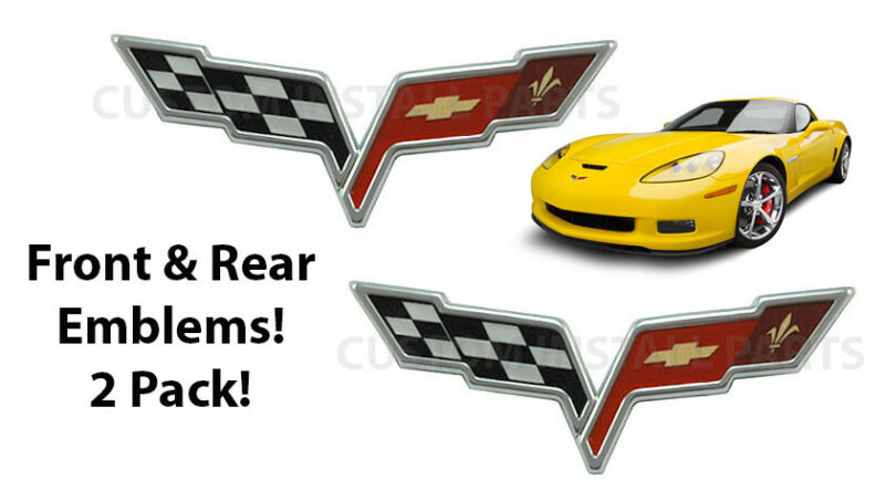Pair Front & Rear Cross Flag Emblem Fits Z06 ZR1 Grand Sport C6 Chevy Corvette • 34.99$