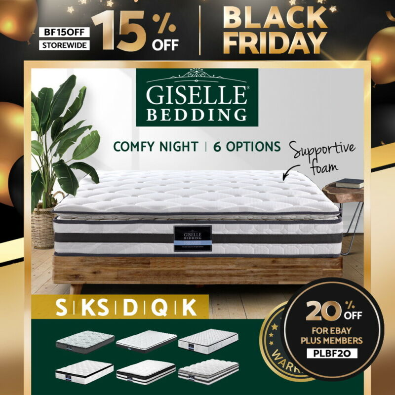 AU209 • Buy Giselle Queen Mattress Double King Single Full Size Bed Pillow Top Spring