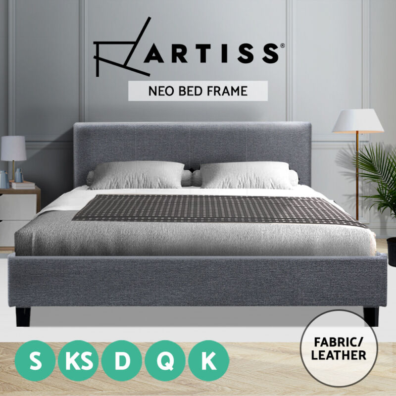 AU144 • Buy Artiss Bed Frame Single Double Queen King Size Base Mattress Fabric Wooden