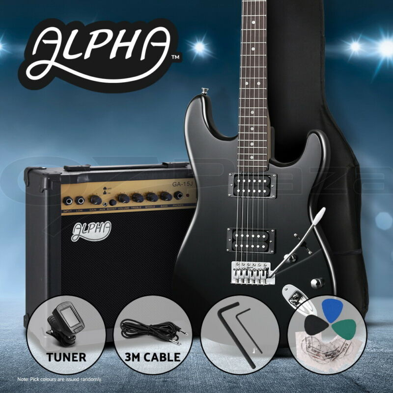 AU199.90 • Buy Alpha Electric Guitar Black Music String Instrument Rock Amplifier Tuner Bag