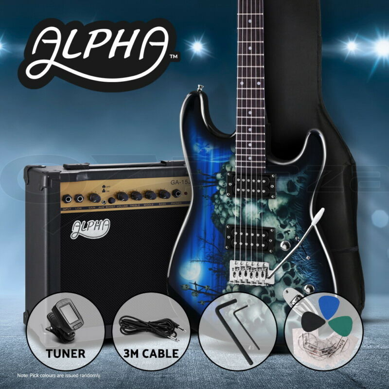 AU199.90 • Buy Alpha Electric Guitar Blue Music String Instrument Rock Amplifier Tuner Pick Bag