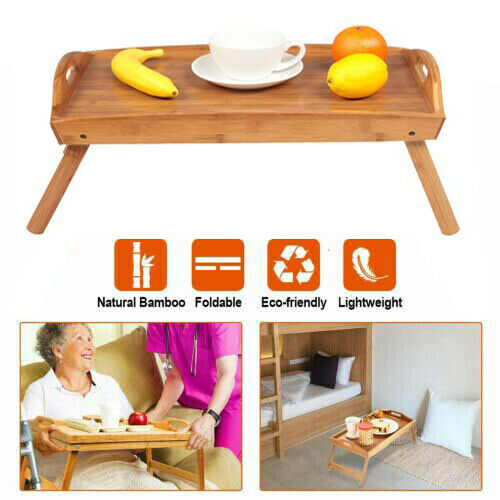 $15.10 • Buy Bed Table,Food Serving Lap Tray Wood Foldable Folding Legs Breakfast Portable